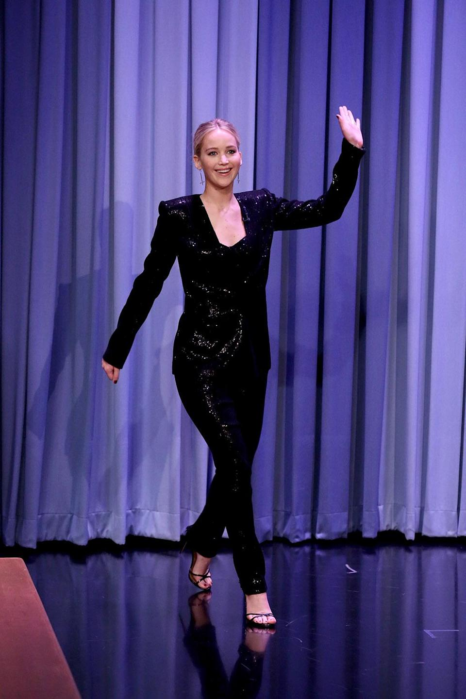 THE TONIGHT SHOW STARRING JIMMY FALLON — Episode 0735 — Pictured: Actress Jennifer Lawrence on September 12, 2017 — (Photo by: Andrew Lipovsky/NBC/NBCU Photo Bank via Getty Images)