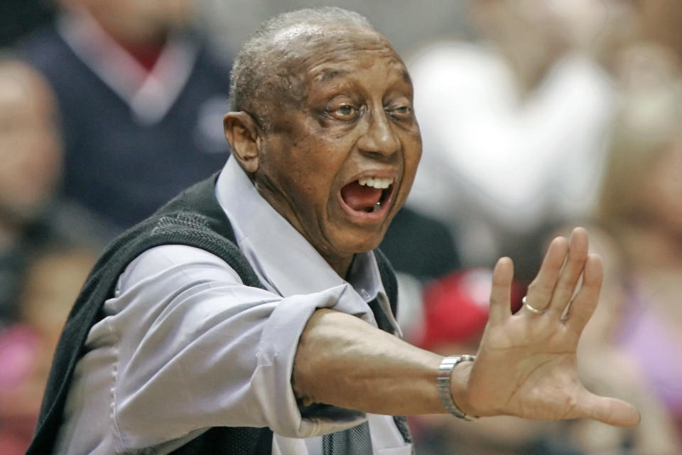 FILE - In this Feb. 25, 2006, file photo, Temple head coach John Chaney yells directions to his players during the the first half of an NCAA college basketball game against Duke in Philadelphia, in this Saturday, Feb. 25, 2006, file photo. John Chaney, one of the nations leading Black coaches and a commanding figure during a Hall of Fame basketball career at Temple, has died. He was 89. His death was announced by the university Friday, Jan. 29, 2021. (AP Photo/Tom Mihalek, File)
