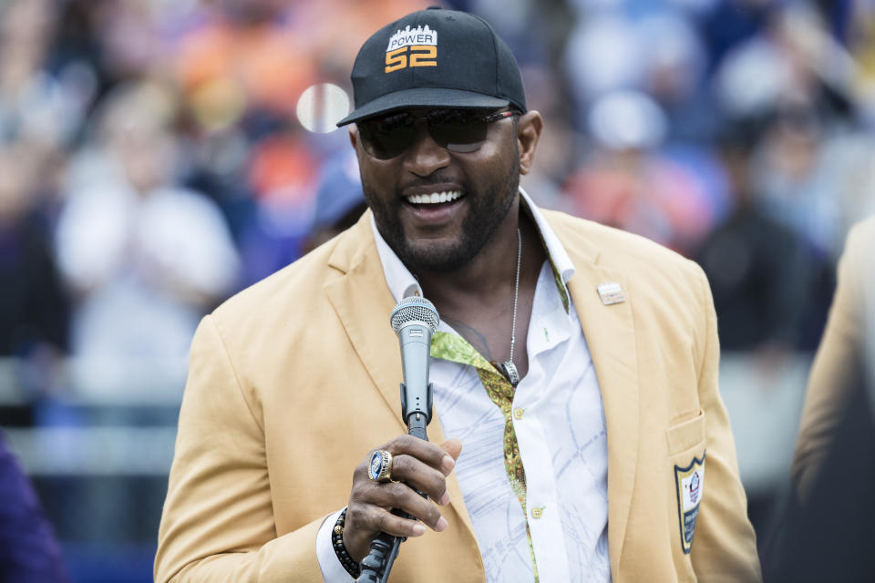 Ray Lewis dreams of playing a few quarters with Lamar Jackson as his quarterback. (Photo by Scott Taetsch/Getty Images)