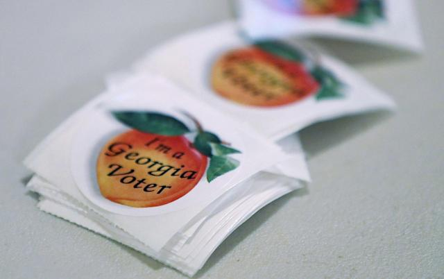 <p>'I'm a Georgia Voter' stickers are available for people to cast their ballots during a special election in Georgia's 6th Congressional District special election at St. Bede's Episcopal Church on June 20, 2017 in Tucker, Ga. (Photo: Joe Raedle/Getty Images) </p>