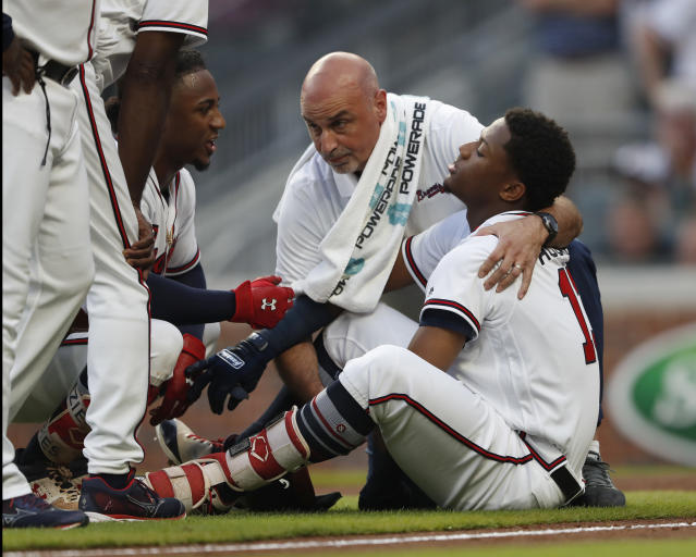 X-rays on Ronald Acuña's elbow came back negative Wednesday night. (AP)