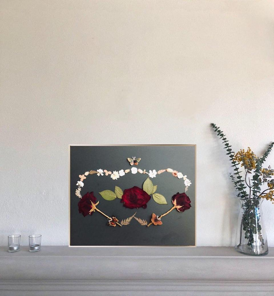 """<p><a class=""""link rapid-noclick-resp"""" href=""""https://go.redirectingat.com?id=74968X1596630&url=https%3A%2F%2Fwww.etsy.com%2Fshop%2FheARTbyJasmine&sref=https%3A%2F%2Fwww.housebeautiful.com%2Fshopping%2Fbest-stores%2Fg32768555%2Fblack-owned-etsy-shops%2F"""" rel=""""nofollow noopener"""" target=""""_blank"""" data-ylk=""""slk:SHOP NOW"""">SHOP NOW</a></p><p>This <a href=""""https://go.redirectingat.com?id=74968X1596630&url=https%3A%2F%2Fwww.etsy.com%2Flisting%2F698083469%2Fmade-to-order-connected-heart-handmade&sref=https%3A%2F%2Fwww.housebeautiful.com%2Fshopping%2Fbest-stores%2Fg32768555%2Fblack-owned-etsy-shops%2F"""" rel=""""nofollow noopener"""" target=""""_blank"""" data-ylk=""""slk:art piece"""" class=""""link rapid-noclick-resp"""">art piece</a>—which, by the way, features real pressed flowers—was made by Jasmine Irons Anokute of <a href=""""https://heartcentered.energy/"""" rel=""""nofollow noopener"""" target=""""_blank"""" data-ylk=""""slk:Heart Centered Energy"""" class=""""link rapid-noclick-resp"""">Heart Centered Energy</a>, an energy healer and Reiki practitioner who also creates heart-centered artwork just like this. Her Los Angeles-based Etsy shop, <a href=""""https://go.redirectingat.com?id=74968X1596630&url=https%3A%2F%2Fwww.etsy.com%2Fshop%2FheARTbyJasmine&sref=https%3A%2F%2Fwww.housebeautiful.com%2Fshopping%2Fbest-stores%2Fg32768555%2Fblack-owned-etsy-shops%2F"""" rel=""""nofollow noopener"""" target=""""_blank"""" data-ylk=""""slk:heART by Jasmine"""" class=""""link rapid-noclick-resp"""">heART by Jasmine</a>, has some examples of her artwork so you can order a custom piece, too. </p>"""