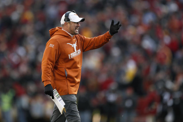 Texas head coach Tom Herman questions a call against Iowa State, Saturday, Nov. 16, 2019, in Ames, Iowa. Iowa State won 23-21. (AP Photo/Charlie Neibergall)