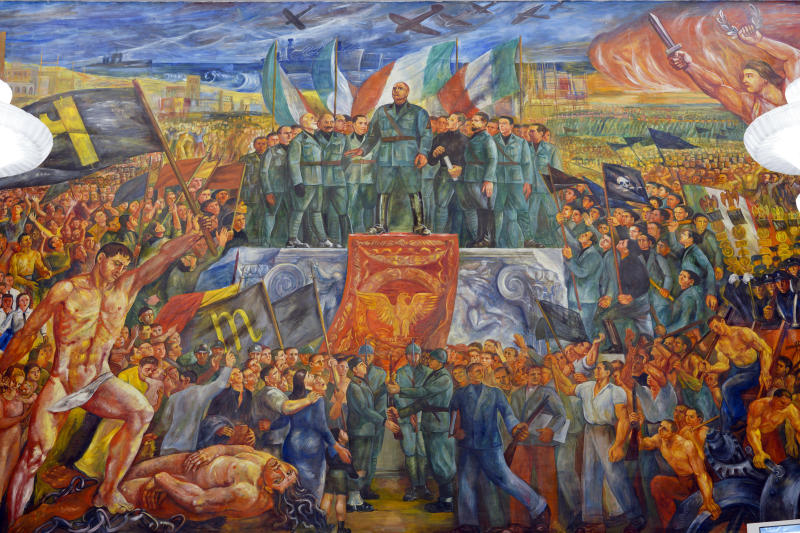 "A detail of the mural titled ""Apotheosis of Fascism"", by Luigi Montanarini, believed to have been painted between the late1930's and early 1940's, in the Salone d'Onore of the CONI headquarters, in Rome, Tuesday, May 14, 2019. While Germany systematically wiped out traces of Adolf Hitler's Nazi regime after World War II, the legacy of his Axis ally, Benito Mussolini, remains present in Italy even today. (AP Photo/Andrew Medichini)"