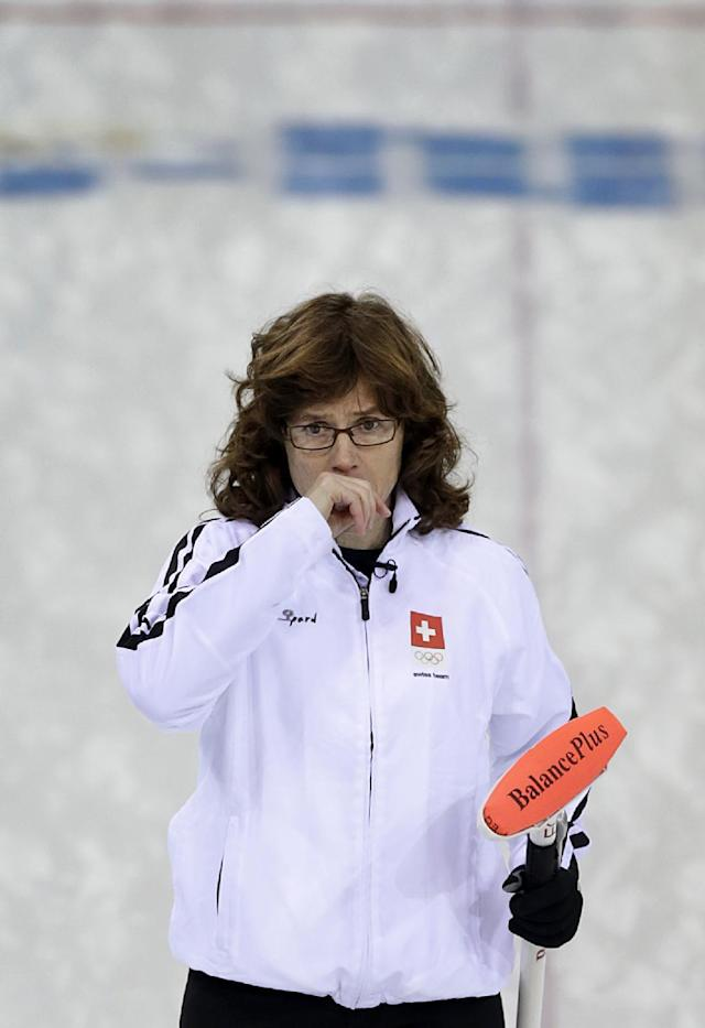 Switzerland's skip Mirjam Ott watches as the rock is delivered during the women's curling semifinal game against Sweden at the 2014 Winter Olympics, Wednesday, Feb. 19, 2014, in Sochi, Russia. (AP Photo/Wong Maye-E)