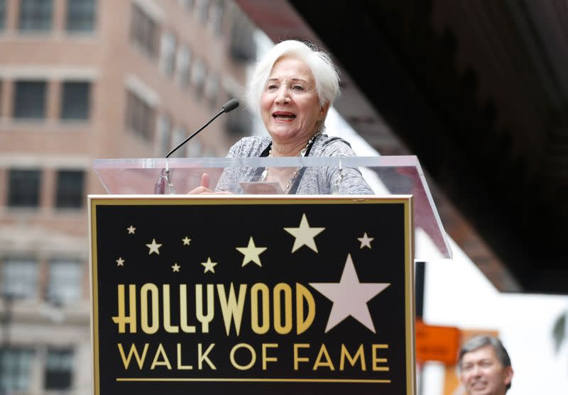 Dukakis speaks at the ceremony for the unveiling of her star on the Walk of Fame in Los Angeles