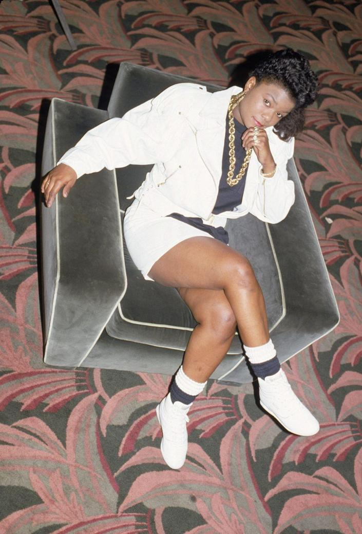 <p>Roxanne Shanté in black-and-white tube socks and high-top Reebok sneakers. </p>