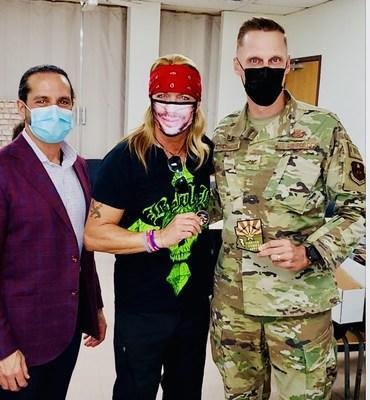 Dr. Larry Caplin, Bret Michaels and Colonel Richardson. Luke Air Force Base.