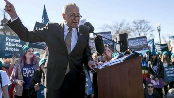 PHOTO: Sen. Chuck Schumer speaks in an abortion rights rally outside of the Supreme Court as the justices hear oral arguments in the June Medical Services v. Russo case, March 4, 2020, in Washington, DC. (Sarah Silbiger/Getty Images)