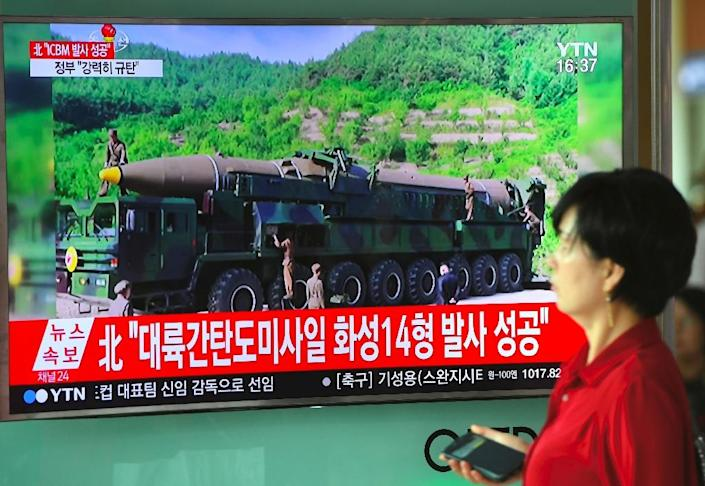 North Korea proclaimed on July 4 that it had successfully tested an intercontinental ballistic missile in a watershed moment in its push to develop a nuclear weapon capable of hitting the United States (AFP Photo/JUNG Yeon-Je)