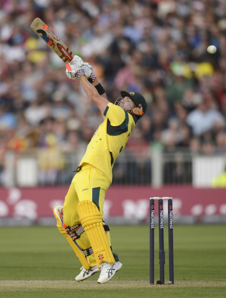 Australia's David Warner misses the ball during the second T20 international against England at the Riverside cricket ground in Chester-le-Street, near Durham, August 31, 2013. REUTERS/Philip Brown (BRITAIN - Tags: SPORT CRICKET)