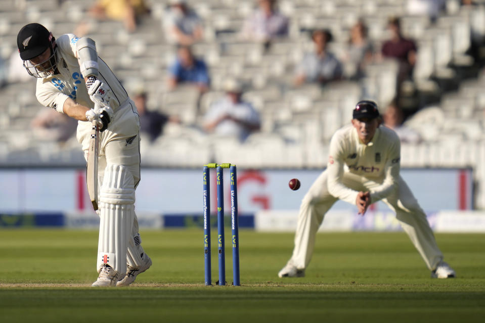New Zealand's Kane Williamson plays a shot off the bowling of England's Ollie Robinson during the fourth day of the Test match between England and New Zealand at Lord's cricket ground in London, Saturday, June 5, 2021. (AP Photo/Kirsty Wigglesworth)