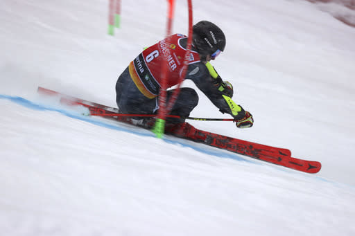 Croatia's Filip Zubcic competes during the first run of an alpine ski, World Cup men's giant slalom in Santa Caterina Valfurva, Italy, Saturday, Dec. 5, 2020. (AP Photo/Alessandro Trovati)