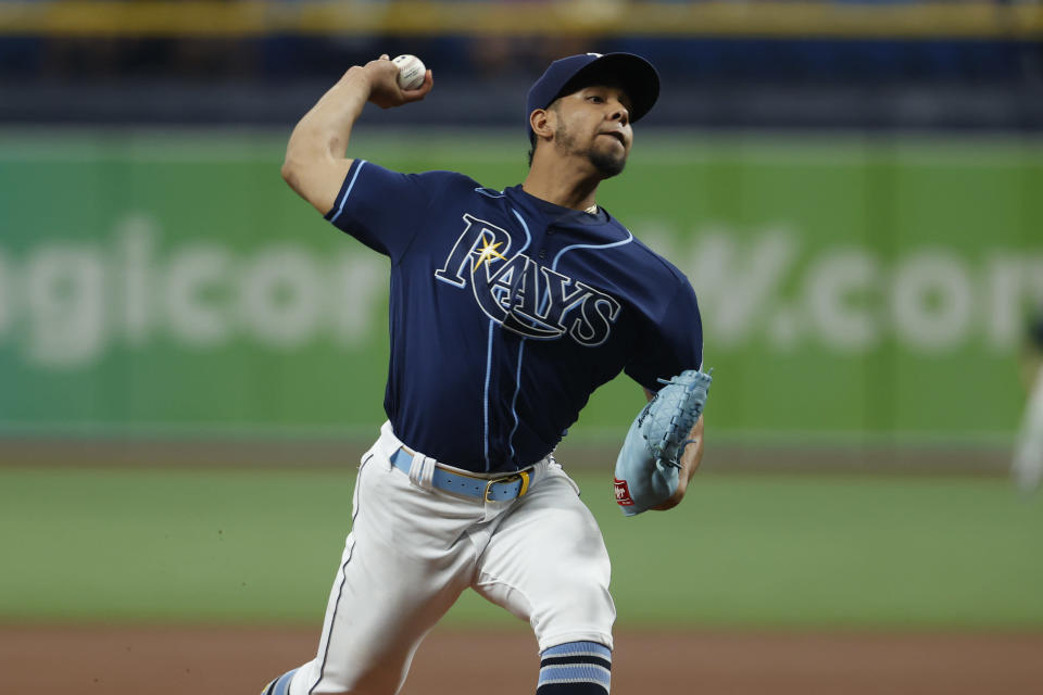 Tampa Bay Rays pitcher Luis Patino works from the mound against the Detroit Tigers during the first inning of a baseball game Friday, Sept. 17, 2021, in St. Petersburg, Fla. (AP Photo/Scott Audette)