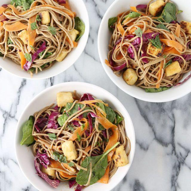 """<p>This udon noodle dish works with pretty much any vegetable in your fridge. Bonus: udon noodles cook in five minutes flat.</p><p>Get the <a href=""""https://www.delish.com/uk/cooking/recipes/a34295830/noodles-with-carrots-spinach/"""" rel=""""nofollow noopener"""" target=""""_blank"""" data-ylk=""""slk:Noodles with Carrots, Spinach & Cabbage Mint"""" class=""""link rapid-noclick-resp"""">Noodles with Carrots, Spinach & Cabbage Mint</a> recipe.</p>"""