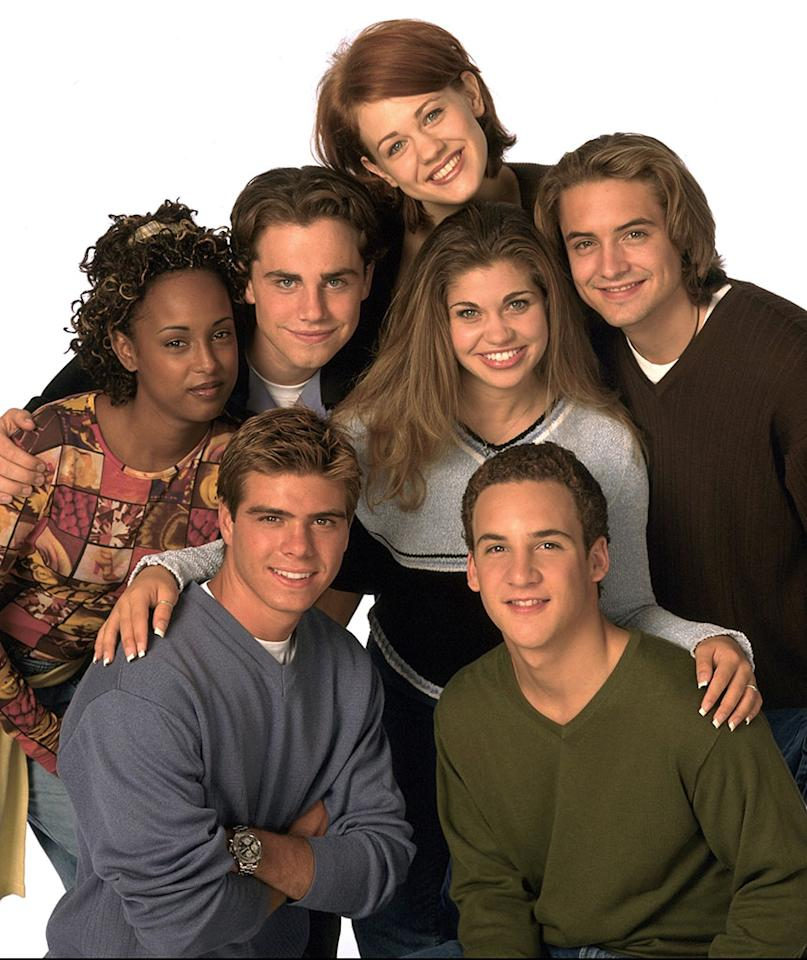 BOY MEETS WORLD, the popular TGIF comedy series, airs on the ABC Television Network. Pictured are: (front, l-r) Matthew Lawrence, Ben Savage; (rear, l-r) Trina McGee-Davis, Rider Strong, Maitland Ward, Danielle Fishel and Will Friedle