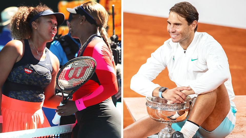 Rafael Nadal (pictured right) posing with the French Open title and Naomi Osaka and Serena Williams (pictured left) sharing a hug.