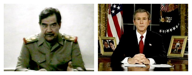 FILE - This combination of video images shows Saddam Hussein, left, on Iraqi television on Thursday, March 20, 2003 and President Bush addressing the nation from the Oval Office at the White House on Wednesday, March 19, 2003. (AP Photo/Iraqi TV via FOX News, APTN, File)