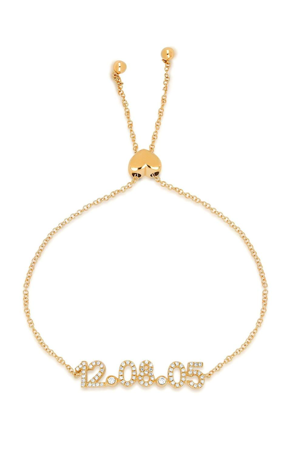 """<p><strong>EF Collection</strong></p><p>modaoperandi.com</p><p><strong>$1295.00</strong></p><p><a href=""""https://go.redirectingat.com?id=74968X1596630&url=https%3A%2F%2Fwww.modaoperandi.com%2Fwomen%2Fp%2Fef-collection%2F14k-gold-diamond-custom-date-bolo-bracelet%2F473723&sref=https%3A%2F%2Fwww.harpersbazaar.com%2Fwedding%2Fg34585586%2Fpersonalized-wedding-gift-ideas%2F"""" rel=""""nofollow noopener"""" target=""""_blank"""" data-ylk=""""slk:SHOP NOW"""" class=""""link rapid-noclick-resp"""">SHOP NOW</a></p><p>A gift this classic—and personal—is foolproof. After all, diamonds are a girl's best friend, and the wedding date is one that she'll want to wear all year long. </p>"""