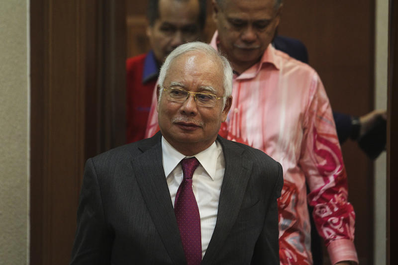 Former prime minister Datuk Seri Najib Razak is seen at the Kuala Lumpur Courts Complex July 10, 2019. — Picture by Miera Zulyana