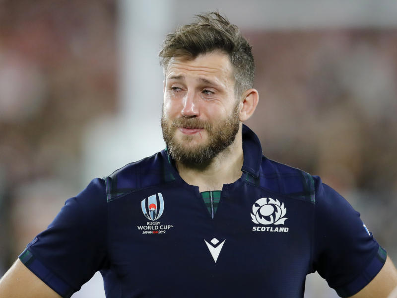 Scotland's Tommy Seymour reacts following their 28-21 loss to Japan in their Rugby World Cup Pool A game at International Stadium in Yokohama, Japan, Sunday, Oct. 13, 2019. (AP Photo/Christophe Ena)