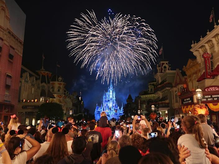 A view of the Magic Kingdom fireworks at Disney World in 2018.