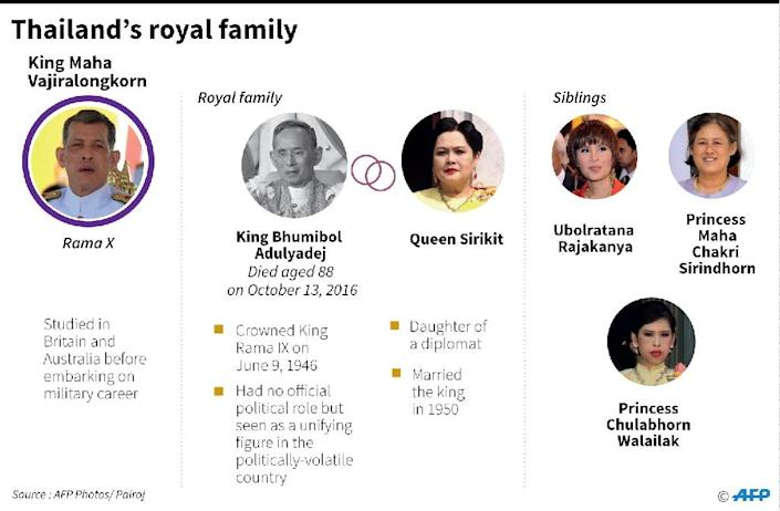 Graphic on the Thai royal family. (AFP Photo/Gal ROMA)