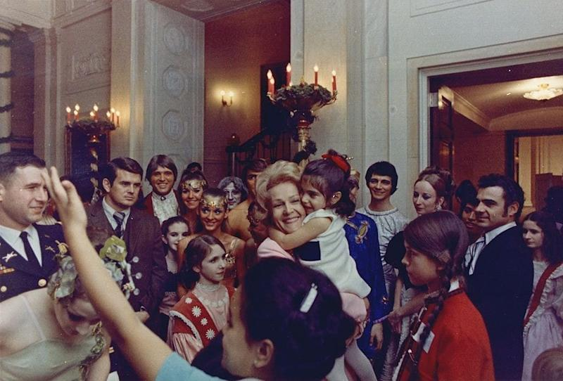 First Lady Pat Nixon greets visitors to the White House, 1969
