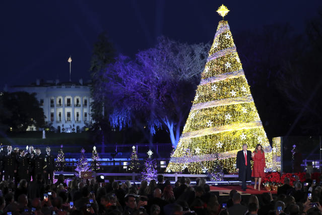 <p>President Donald Trump and first lady Melania Trump stand after lighting the 2017 National Christmas Tree on the Ellipse near the White House, Thursday, Nov. 30, 2017, in Washington. (Photo: Andrew Harnik/AP) </p>