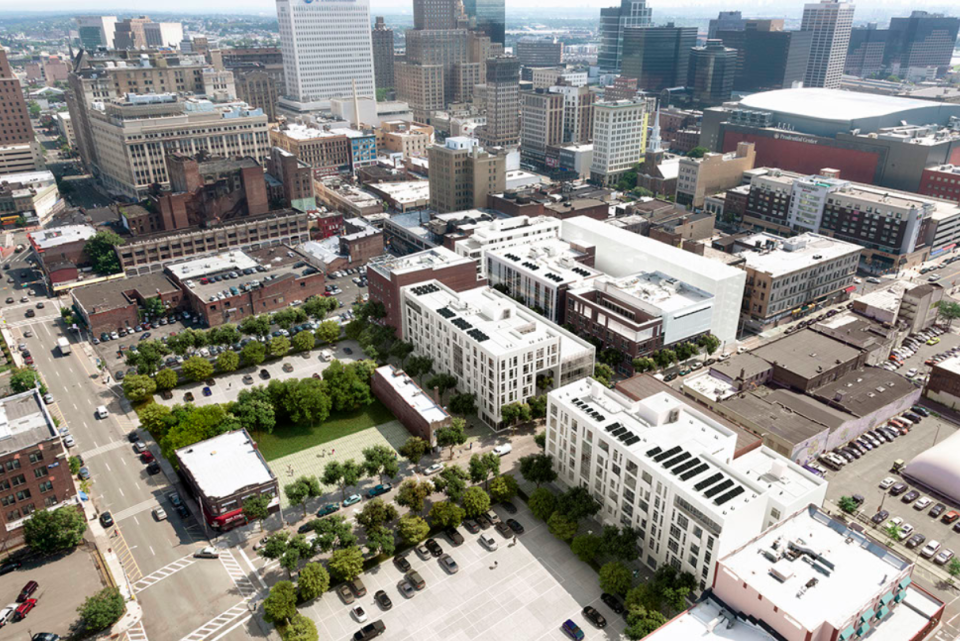 Aerial view of the $150 million Teachers Village in downtown Newark.
