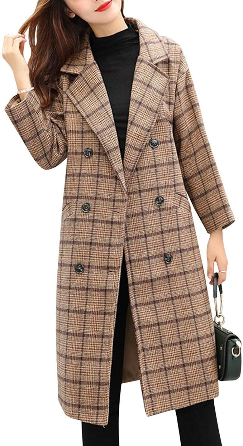 <p>Stay bundled up in this <span>Tanming Double-Breasted Plaid Wool-Blend Coat </span> ($50).</p>