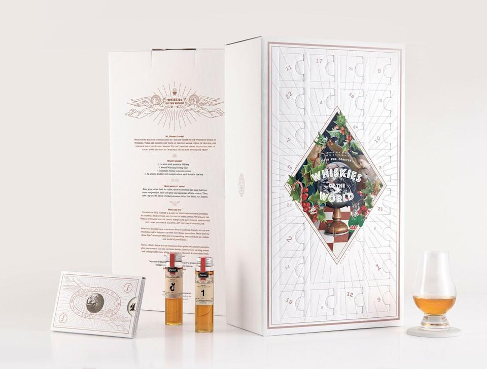 "<h3>Flaviar Advent Calendar</h3><br>Get into the holiday spirit with Flaviar's whiskey advent calendar, which contains 24 sampler bottles of the 'ski, plus a glass to enjoy them in.<br><br><strong>Flaviar</strong> Advent Calendar 2020, $, available at <a href=""https://go.skimresources.com/?id=30283X879131&url=https%3A%2F%2Fflaviar.com%2Fadvent-calendars%23products"" rel=""nofollow noopener"" target=""_blank"" data-ylk=""slk:Flaviar"" class=""link rapid-noclick-resp"">Flaviar</a>"