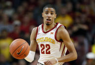 FILE - In this Tuesday, Nov. 5, 2019, file photo, Iowa State guard Tyrese Haliburton drives up court during the first half of an NCAA college basketball game against Mississippi Valley State in Ames, Iowa. The Sacramento Kings selected Tyrese Haliburton with the 12th overall pick in the NBA draft Wednesday night, Nov. 18, 2020 adding depth to a backcourt that is almost certain to undergo significant changes. (AP Photo/Charlie Neibergall, File)