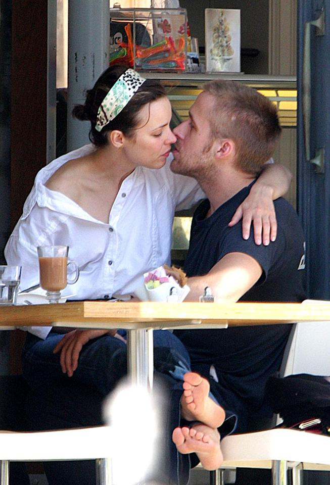 "Recently reunited Rachel McAdams and Ryan Gosling make up for lost time with a make out session. O'Neill, White/<a href=""http://www.infdaily.com"" target=""new"">INFDaily.com</a> - August 21, 2008"