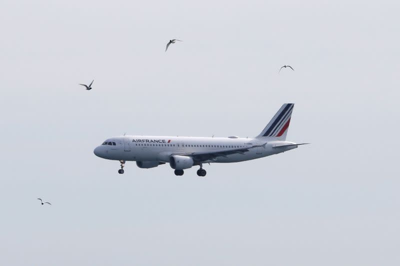FILE PHOTO: An Air France plane prepares to land at Nice International airport in Nice