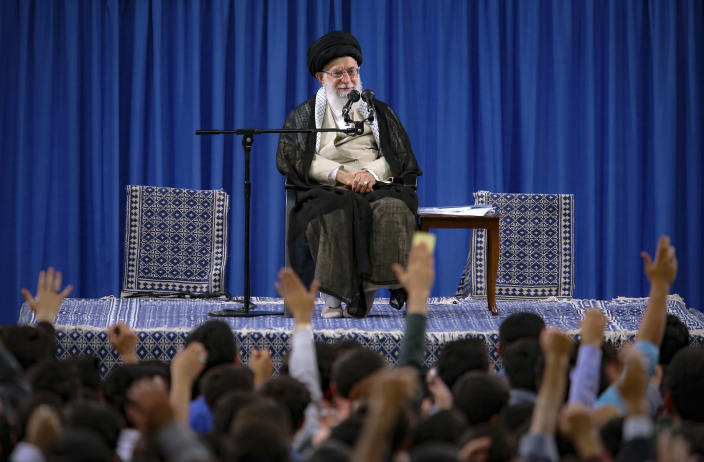"FILE - In this file photo released May 22, 2019, by an official website of the office of the Iranian supreme leader, Supreme Leader Ayatollah Ali Khamenei attends a meeting with a group of students as they chant slogans, in Tehran, Iran. On May 14, 2019, Khamenei says ""no one is seeking war,"" but that it wouldn't be difficult for Iran to enrich uranium to weapons-grade levels. (Office of the Iranian Supreme Leader via AP, File)"