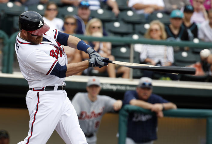Atlanta Braves catcher Ryan Doumit breaks his bat in the second inning of a spring exhibition baseball game against the Detroit Tigers, Wednesday, Feb. 26, 2014, in Kissimmee, Fla. Doumit was out on the ground ball. (AP Photo/Alex Brandon)