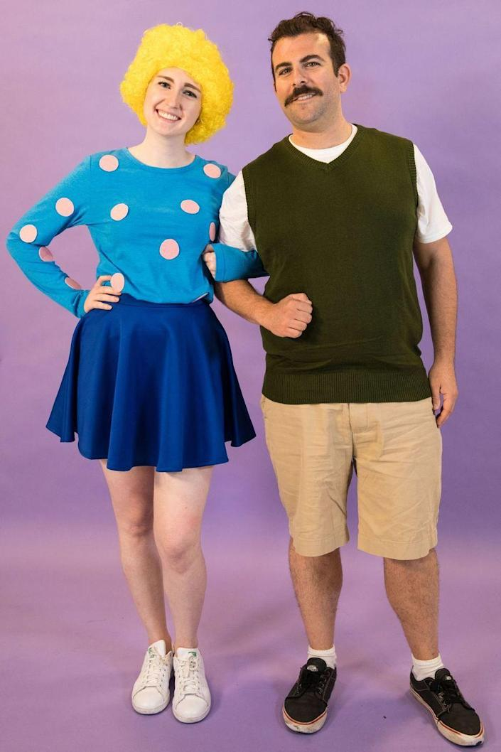 """<p>For a costume everyone is sure to find funny, then take on <em>Doug</em>'s Patti Mayonnaise and Doug Funnie. </p><p><a class=""""link rapid-noclick-resp"""" href=""""https://www.amazon.com/TXIN-Halloween-Circus-Colorful-Costume/dp/B0787LKGWB?tag=syn-yahoo-20&ascsubtag=%5Bartid%7C10070.g.1923%5Bsrc%7Cyahoo-us"""" rel=""""nofollow noopener"""" target=""""_blank"""" data-ylk=""""slk:SHOP YELLOW WIG"""">SHOP YELLOW WIG</a></p><p><a class=""""link rapid-noclick-resp"""" href=""""https://www.amazon.com/Mini-Phoebee-Merino-Sweater-V-Neck/dp/B07MR31L66?tag=syn-yahoo-20&ascsubtag=%5Bartid%7C10070.g.1923%5Bsrc%7Cyahoo-us"""" rel=""""nofollow noopener"""" target=""""_blank"""" data-ylk=""""slk:SHOP GREEN SWEATER VEST"""">SHOP GREEN SWEATER VEST</a></p>"""