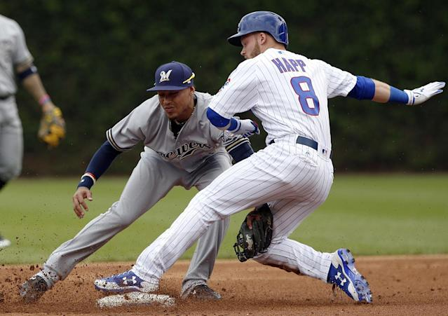 <p>Chicago Cubs' Ian Happ, right, is safe at second base after hitting an RBI-double as Milwaukee Brewers shortstop Orlando Arcia applies a late tag in the first inning of a baseball game in Chicago, Sunday, May 21, 2017. (Photo: Nam Y. Huh/AP) </p>