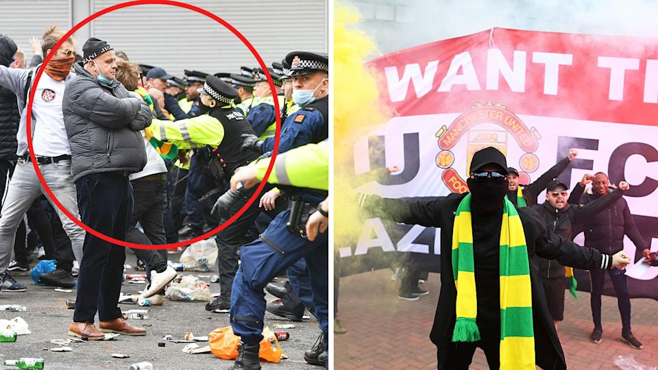 Police clear out Manchester United protesters (pictured left) at Old Trafford and and a protester holding a flair (pictured right) with a mask on in front of a banner.