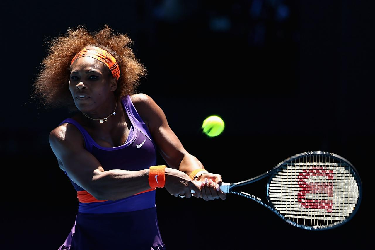 MELBOURNE, AUSTRALIA - JANUARY 23:  Serena Williams of the United States of America plays a backhand in her Quarterfinal match against Sloane Stephens of the United States of America during day ten of the 2013 Australian Open at Melbourne Park on January 23, 2013 in Melbourne, Australia.  (Photo by Mark Kolbe/Getty Images)