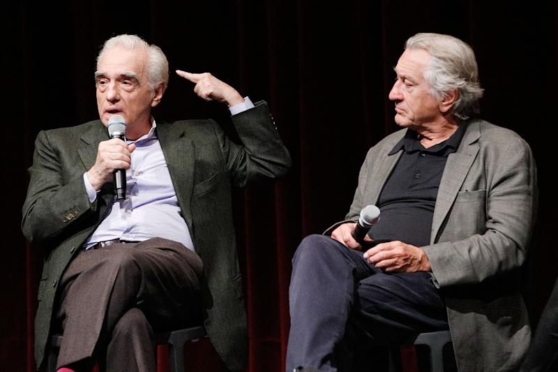 "Martin Scorsese and Robert De Niro on stage for a screening of ""The Irishman"" on October 6, 2019. (Photo by Lars Niki/Getty Images for The Academy Of Motion Pictures Arts & Sciences)"