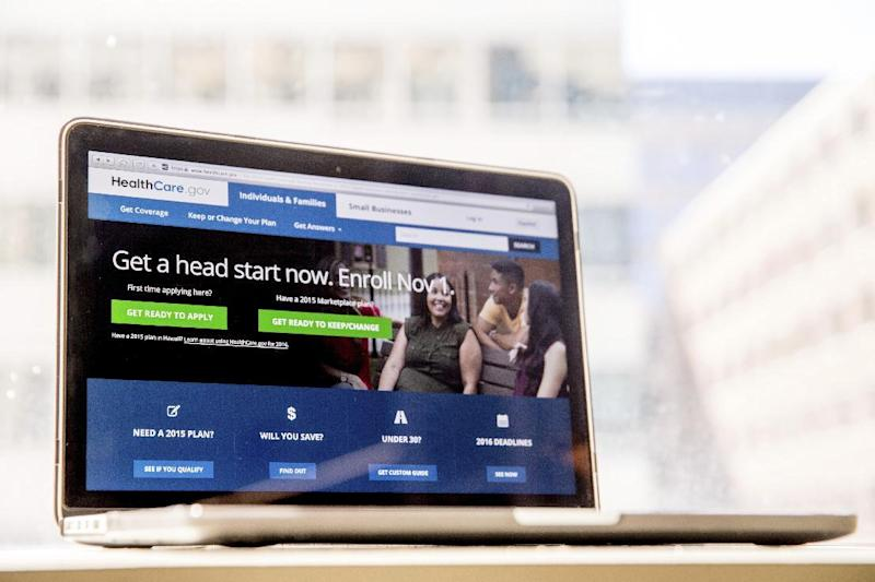 """FILE - In this Oct. 6, 2015, file photo, the HealthCare.gov website, where people can buy health insurance, is displayed on a laptop screen in Washington. The Obama administration says 6.4 million people have signed up so far this year for subsidized private insurance coverage through HealthCare.gov. Despite rising premiums, dwindling insurers, and a Republican vow to repeal """"Obamacare,"""" enrollment is running ahead of last year's pace. (AP Photo/Andrew Harnik, File)"""