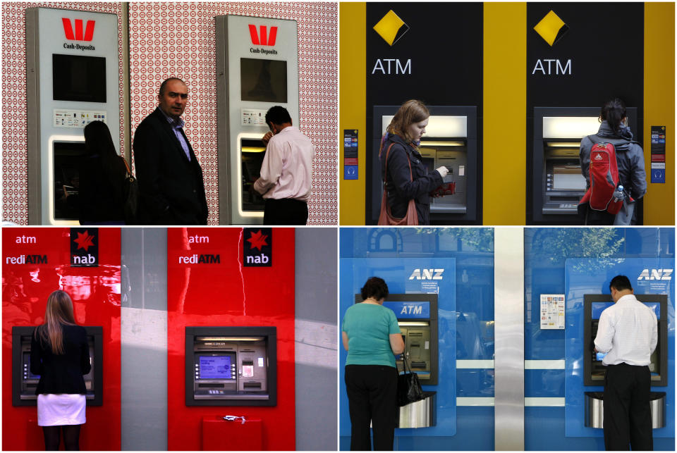 """A combination of photographs shows people using automated teller machines (ATMs) at Australia's """"Big Four"""" banks - Australia and New Zealand Banking Group Ltd (bottom R), Commonwealth Bank of Australia (top R), National Australia Bank Ltd (bottom L) and Westpac Banking Corp (top L). The banks are due to report another series of bumper profits in coming weeks after posting a record combined A$13.2 billion cash profit in the first half. REUTERS/Staff (AUSTRALIA - Tags: BUSINESS)"""
