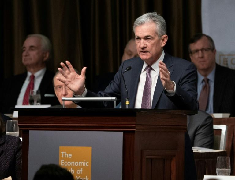 "Federal Reserve Chairman Jerome Powell speaks to the Economic Club of New York, saying that interest rates remained ""low by historical standards"" and still provided stimulus to the economy"