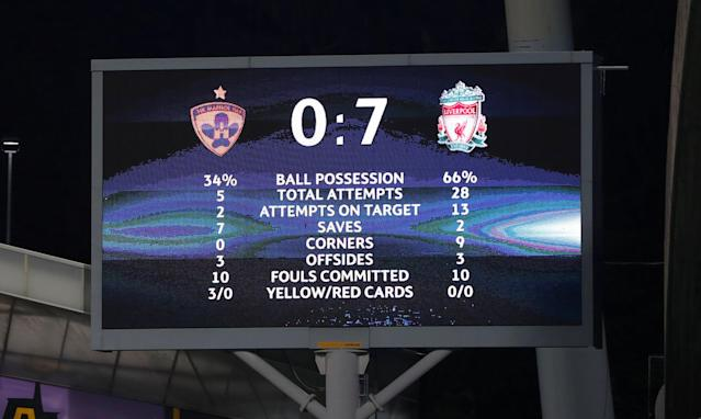 Soccer Football - Champions League - Maribor vs Liverpool - Ljudski vrt, Maribor, Slovenia - October 17, 2017 General view of scoreboard at the end of the match Action Images via Reuters/Paul Childs