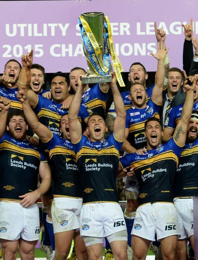 Sinfield celebrates winning a seventh Super League Grand Final with Leeds in 2015