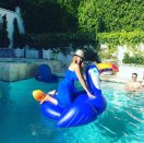 """<p>The bubbly <em>Modern Family</em> star is queen of the pool floats and color coordinated her dress with this cute blue tuscan. (Photo: <a rel=""""nofollow noopener"""" href=""""https://www.instagram.com/p/BWJUMESgywO/?taken-by=sofiavergara"""" target=""""_blank"""" data-ylk=""""slk:Sofia Vergara via Instagram"""" class=""""link rapid-noclick-resp"""">Sofia Vergara via Instagram</a>) </p>"""
