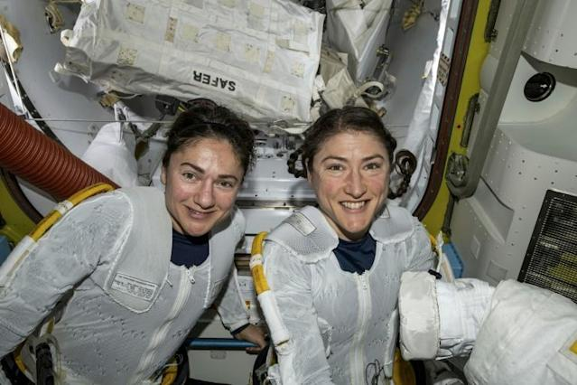 Jessica Meir and Christina Koch made history on October 18, 2019 when they became the first all-women team to carry out a spacewalk (AFP Photo/HO)