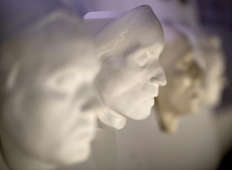 A death mask of Ludwig Van Beethoven is on display at the Funeral Museum in Vienna, Austria